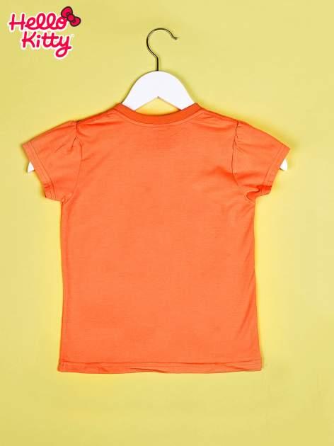 Pomarańczowy t-shirt dla dziewczynki HELLO KITTY z gwiadkami                                  zdj.                                  2