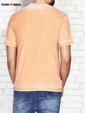 Pomarańczowy t-shirt męski z nadrukiem FUNK N SOUL