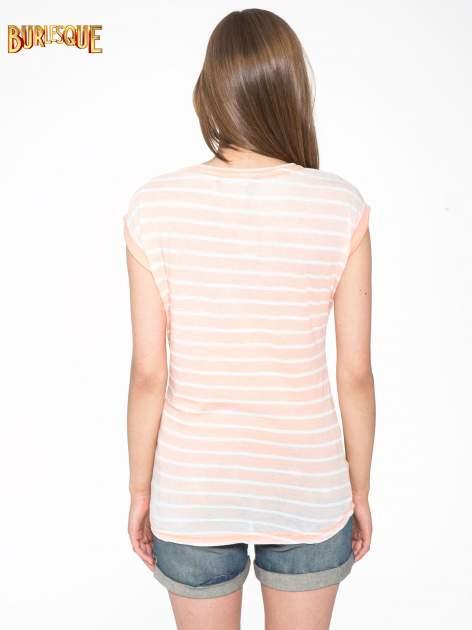 Pomarańczowy t-shirt w paski z napisem FIRENZE TOSCANA                                  zdj.                                  4