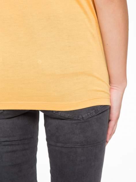 Pomarańczowy t-shirt z nadrukiem NYC zdobiony dżetami                                  zdj.                                  9