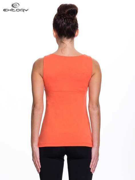 Pomarańczowy top sportowy z wiązaniem w stylu marynarskim                                  zdj.                                  3