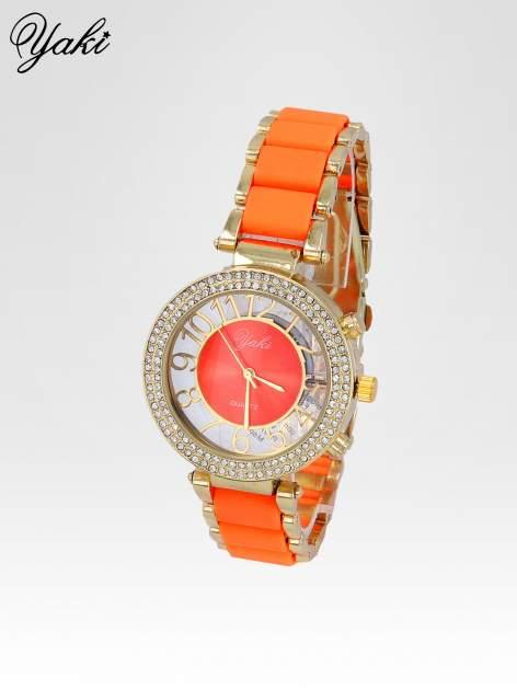 Pomarańczowy zegarek na bransolecie z cyrkoniami na tarczy                                  zdj.                                  2