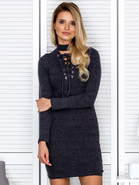 Prążkowana sukienka lace up z chokerem ciemnoszara                              zdj.                              1