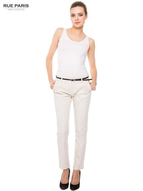 Proste spodnie ecru z paskiem                                  zdj.                                  6