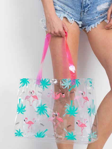 Przezroczysta torba damska we flamingi                              zdj.                              3