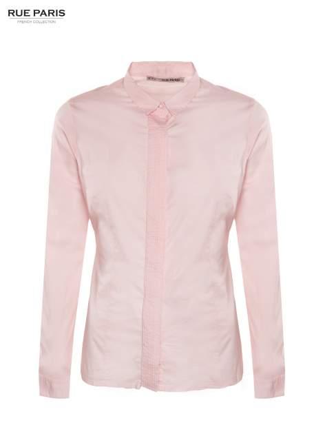 Pudroworóżowa koszula z krytą listwą i guzikami perełkami                                  zdj.                                  2