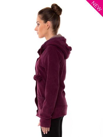 Purpurowa polarowa bluza z kapturem z uszkami                                  zdj.                                  4