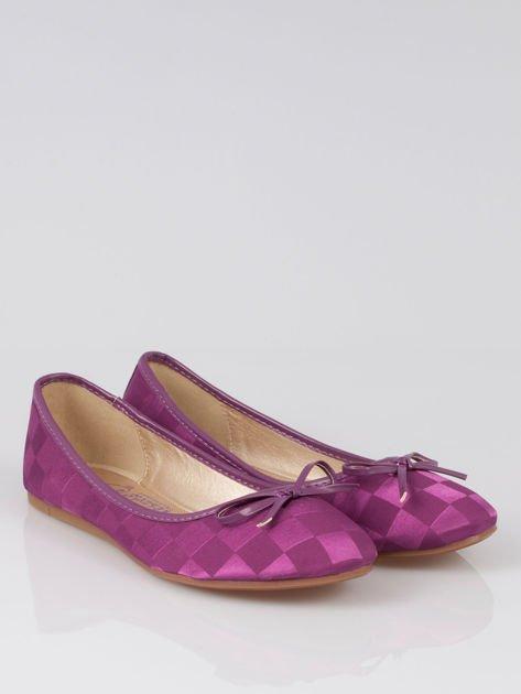 Purpurowe baleriny Satin Check z motywem szachownicy                                  zdj.                                  2