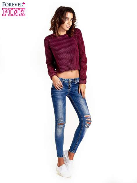 Purpurowy sweter cropped z rozporkami                                  zdj.                                  3