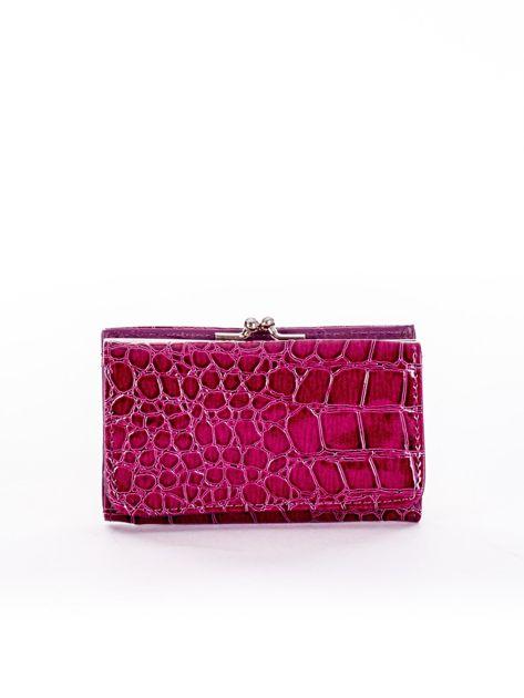 Purpurowy tłoczony portfel z zewnętrzną przegródką