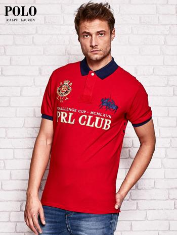 RALPH LAUREN Czerwona koszulka polo męska z naszywkami                                  zdj.                                  2