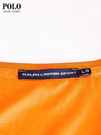 RALPH LAUREN Pomarańczowy t-shirt z trójkątnym dekoltem                                  zdj.                                  4