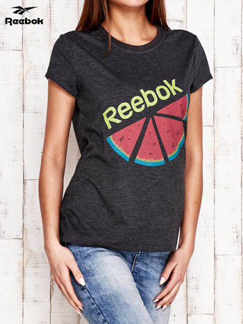 REEBOK Ciemnoszary t-shirt z nadrukiem arbuza                                  zdj.                                  3