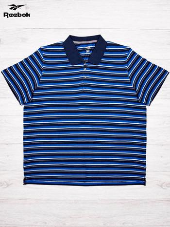 REEBOK Niebieska koszulka polo męska w paski                                  zdj.                                  1