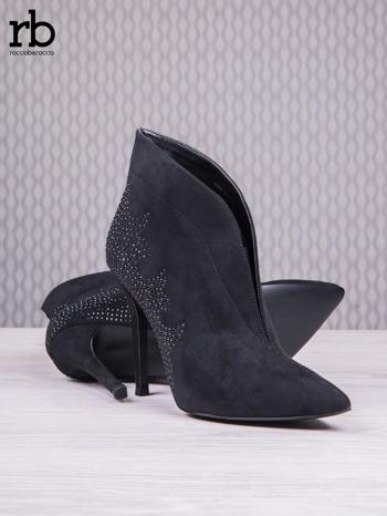 ROCCOBAROCCO Czarne zamszowe botki chamois leather z czarnymi koralikami                                  zdj.                                  4