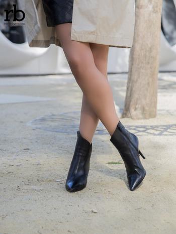 ROCCOBAROCCO czarne skórzane botki genuine leather na szpilce z asymetryczną cholewką                                  zdj.                                  1