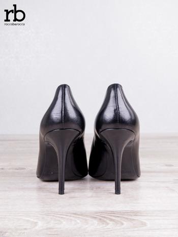 ROCCOBAROCCO czarne skórzane szpilki grain leather w szpic                                  zdj.                                  4