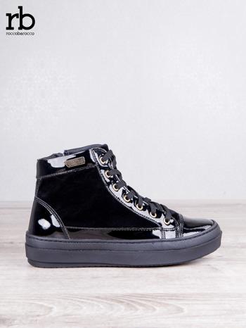ROCCOBAROCCO czarne welurowe sneakersy dual texture z lakierowanymi wstawkami                                  zdj.                                  1
