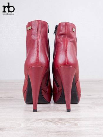 ROCCOBAROCCO czerwone skórzane botki genuine leather na koturnach                                  zdj.                                  5