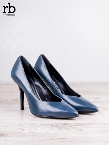 ROCCOBAROCCO niebieskie skórzane szpilki grain leather w szpic                                  zdj.                                  5