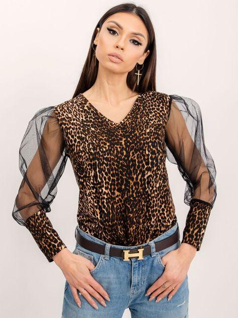 RUE PARIS Czarno-beżowa bluzka Goddess