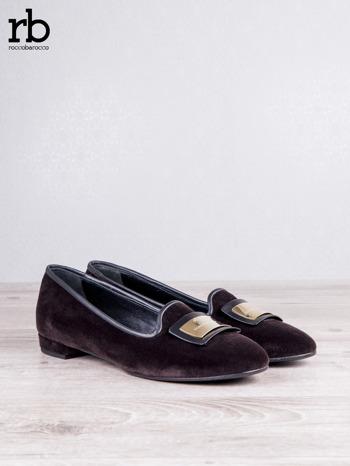 Roccobarocco brązowe baleriny shammy-leather z weluru                                  zdj.                                  3