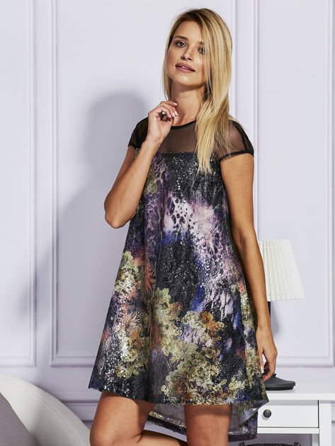 Rozkloszowana sukienka z cekinami                              zdj.                              3