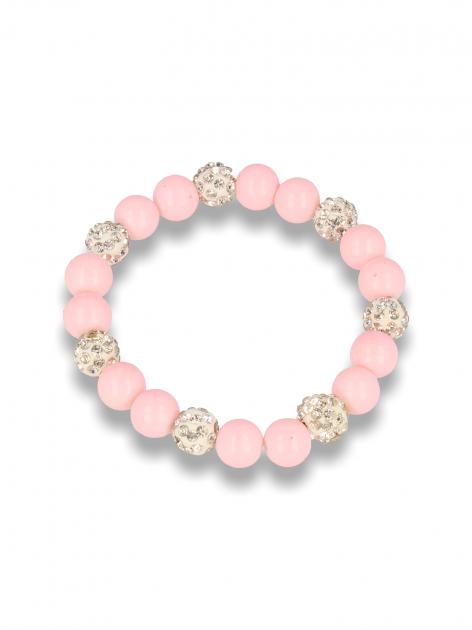 Różowa Bransoletka koralikowa z kulkami schamballa                                  zdj.                                  1