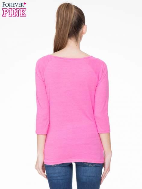 Różowa basicowa gładka bluzka z rękawem 7/8                                  zdj.                                  4