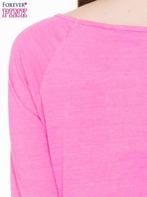 Różowa basicowa gładka bluzka z rękawem 7/8                                  zdj.                                  6