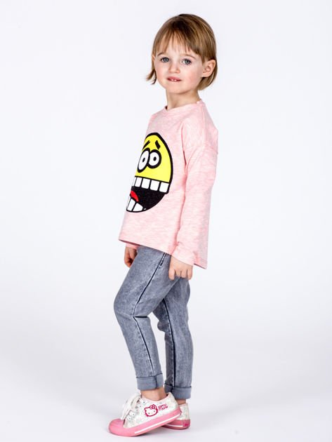 Różowa bawełniana bluzka dziecięca z zabawną emotikonką                              zdj.                              6