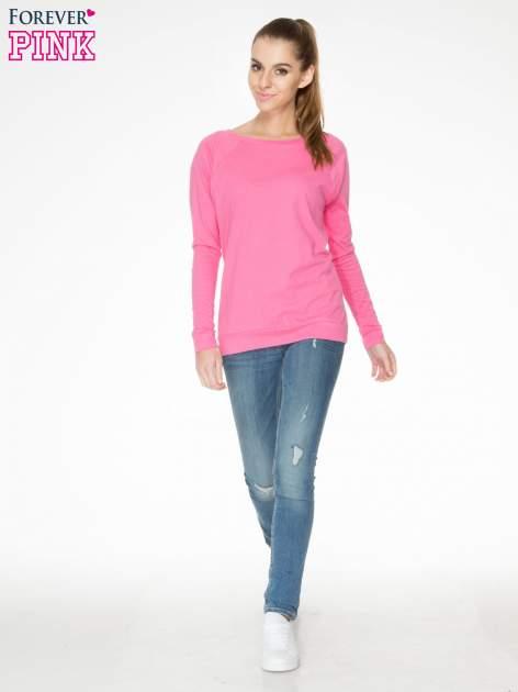 Różowa bawełniana bluzka z rękawami typu reglan                                  zdj.                                  2