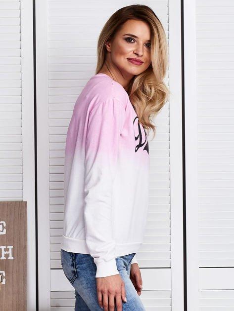Różowa bluza ombre z napisem                              zdj.                              3