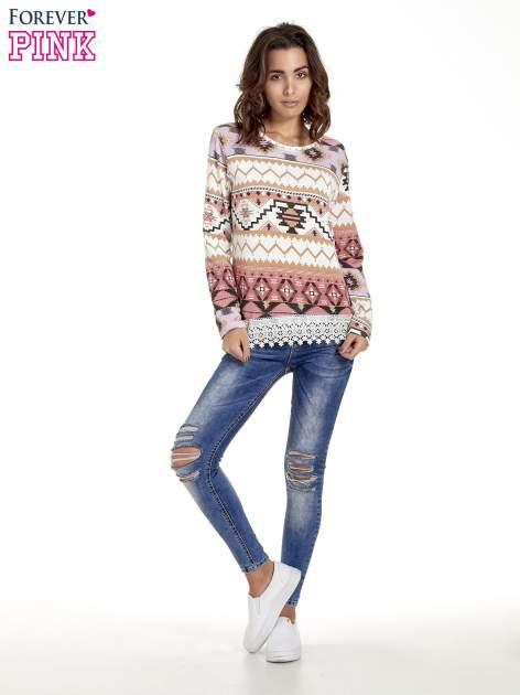 Różowa bluza w azteckie wzory z koronką                                  zdj.                                  5