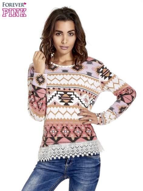 Różowa bluza w azteckie wzory z koronką