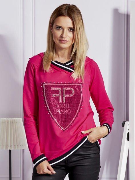 Różowa bluza z herbem z dżetów                                   zdj.                                  1