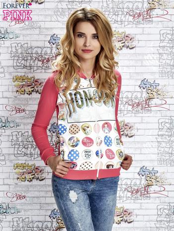 Różowa bluza z kapturem i napisem HONOUR                                  zdj.                                  4