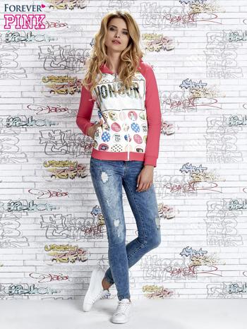 Różowa bluza z kapturem i napisem HONOUR                                  zdj.                                  2