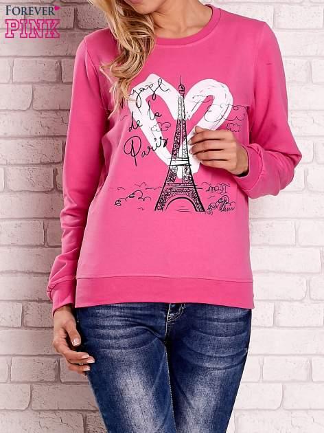 Różowa bluza z motywem paryskim                                  zdj.                                  1