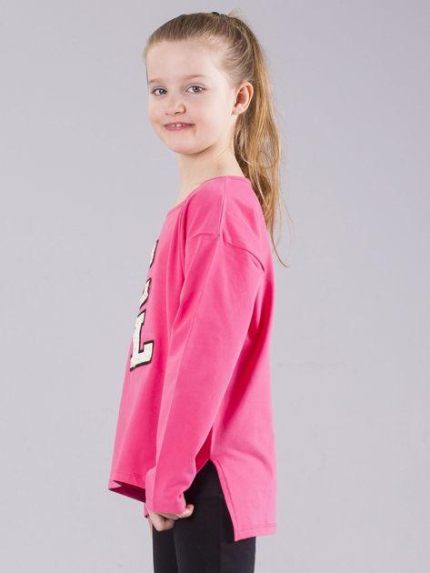 Różowa bluzka dziewczęca z aplikacją z perełkami                              zdj.                              2