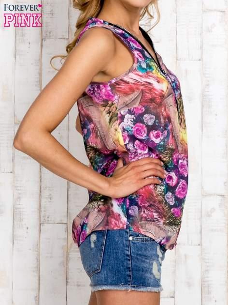 Różowa bluzka koszulowa w etniczne motywy                                  zdj.                                  3