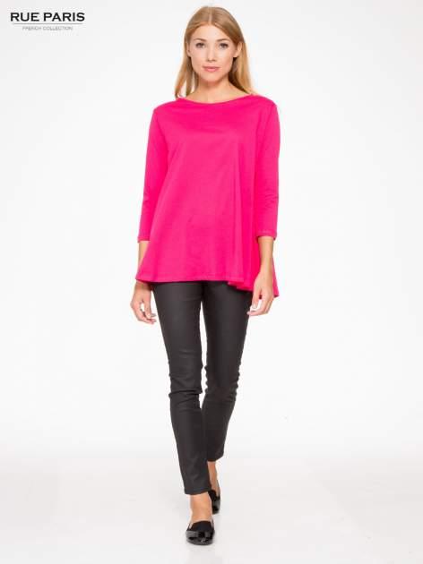 Różowa bluzka o rozkloszowanym kroju z rękawem 3/4                                  zdj.                                  2