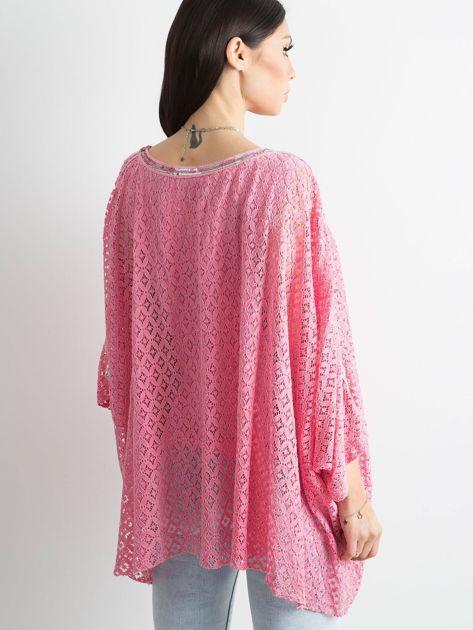 Różowa bluzka ponczo                              zdj.                              2