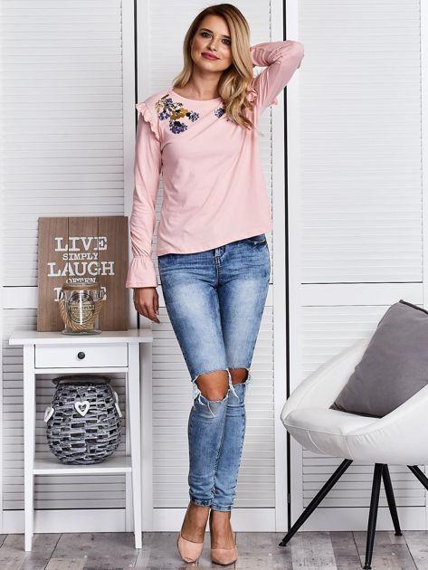 Różowa bluzka z cekinowymi kwiatami                              zdj.                              4