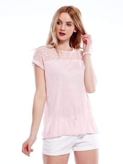Różowa bluzka z koronkową górą                              zdj.                              1