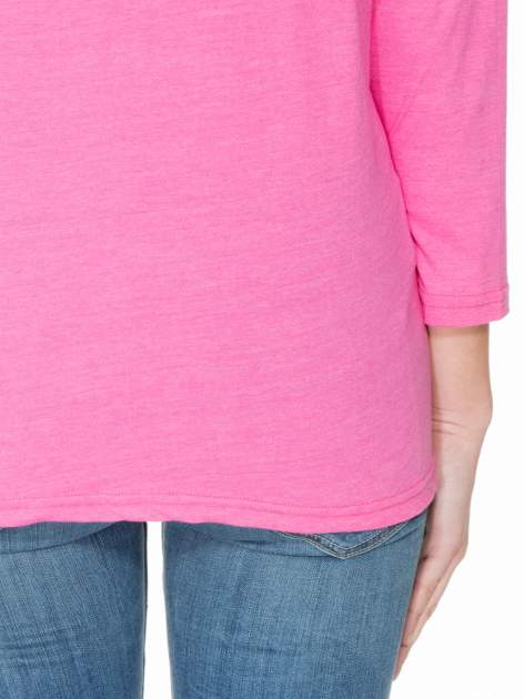 Różowa bluzka z marszczonym dekoltem i rękawkami 3/4                                  zdj.                                  6