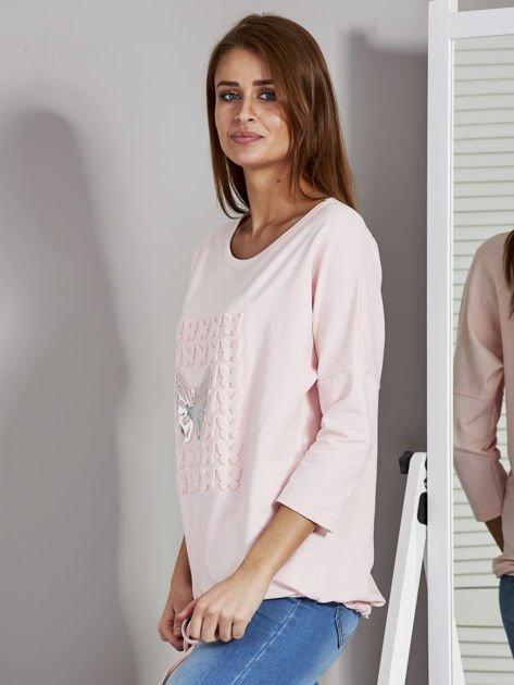 Różowa bluza z motywem motyli                                  zdj.                                  3