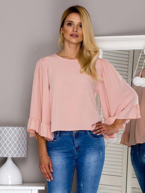Różowa bluzka z szerokimi rękawami                              zdj.                              1