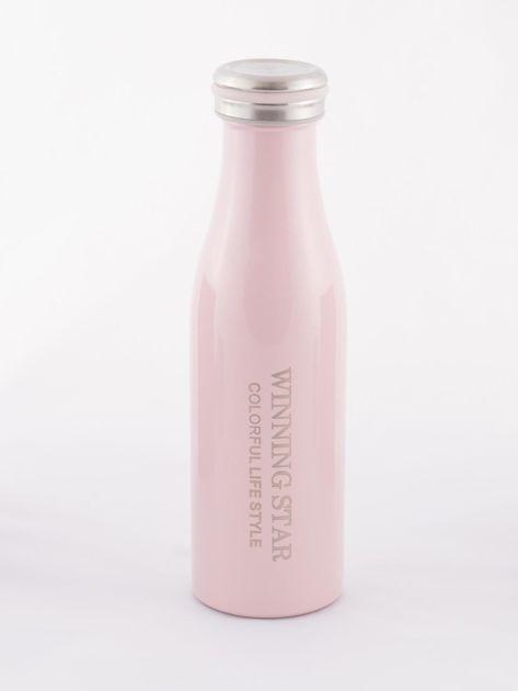 Różowa butelka termos z zakrętką                               zdj.                              2