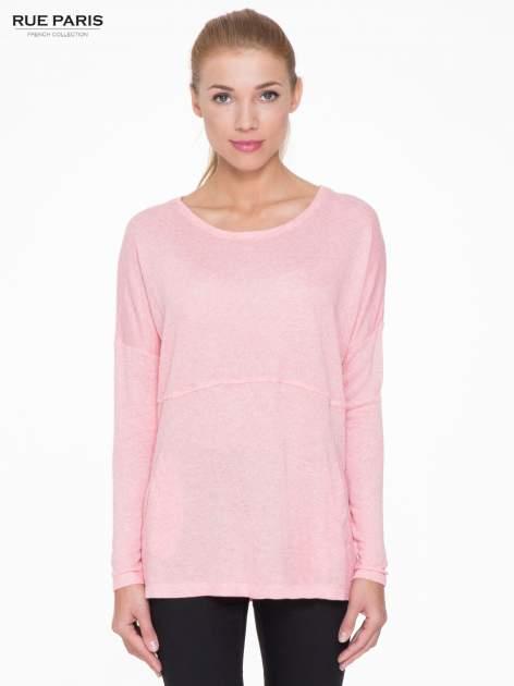 Różowa dresowa bluza oversize z kieszeniami                                  zdj.                                  1